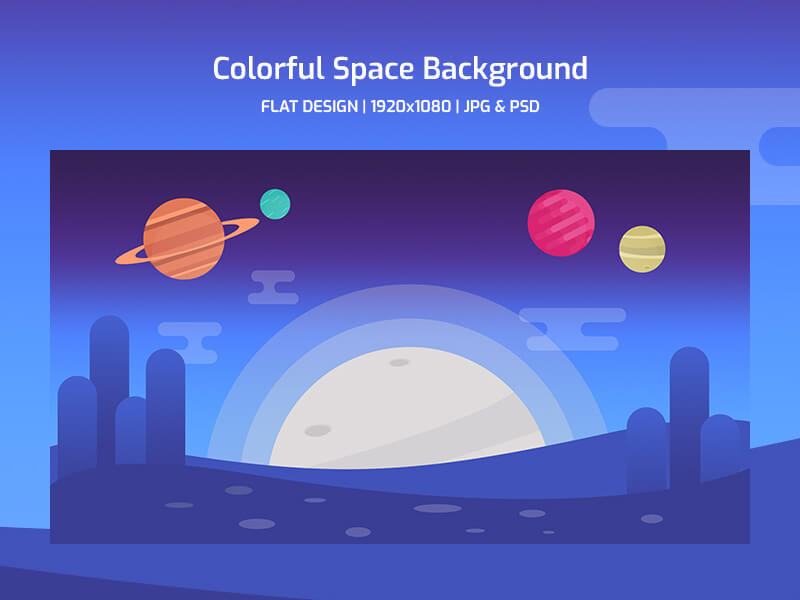 flat-colorful-space-background