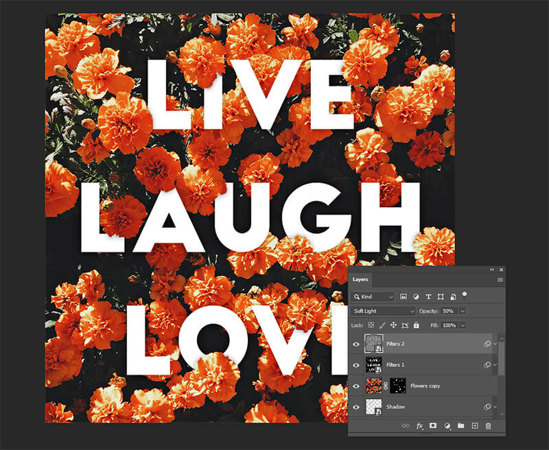 Live Laugh Love poster Photoshop Layers