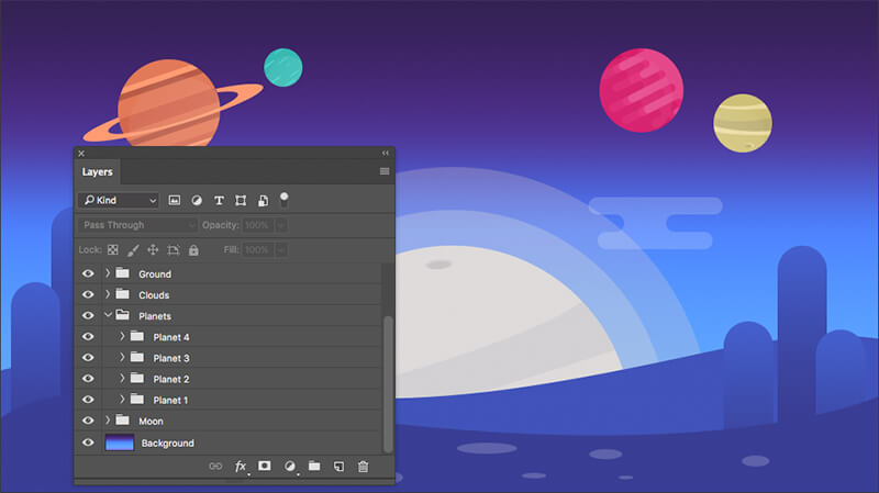 Photoshop Layers in Space Background PSD