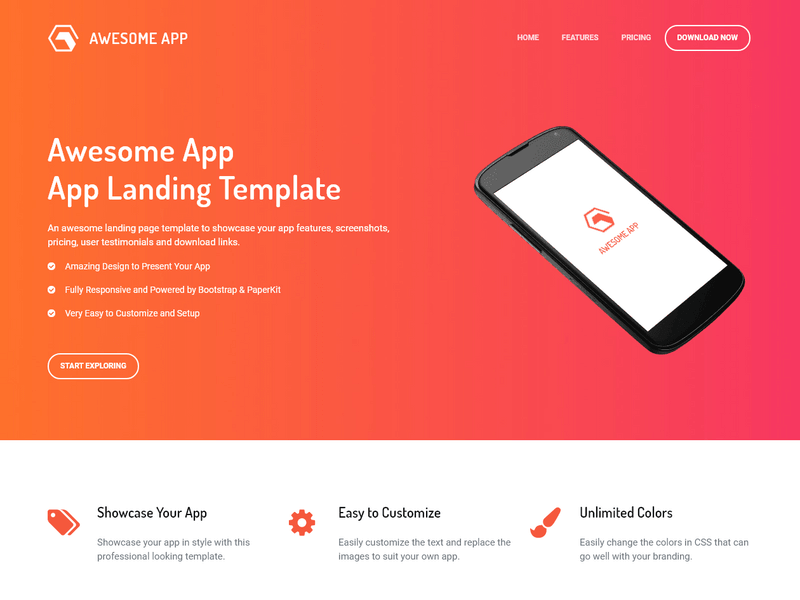 awesome app app landing page template built with bootstrap 4