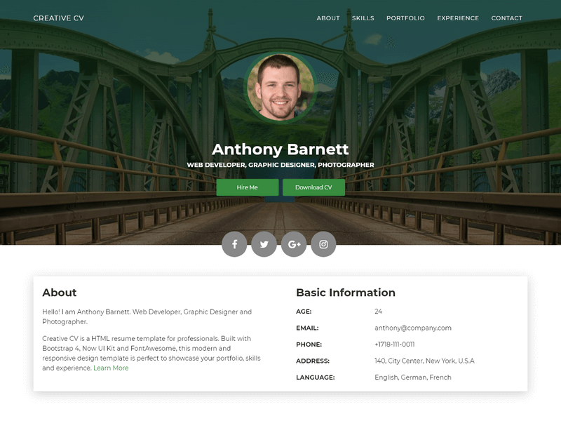 Creative CV Resume Template Built With Bootstrap 4